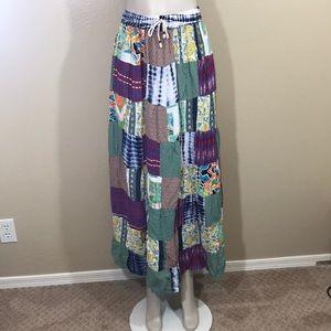 Vintage boho hippie Patchwork maxi skirt rayon OS